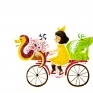 Biking TimeIllustration of Yellow Bow and 7 Reptiles / Watercolor / 2015