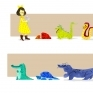 Yellow Bow and 7 Reptiles character line-upCharacters line-up of Yellow Bow and 7 Reptiles / Watercolor / 2015