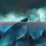 船與鯨鯨夜晚航行中的船 遇上了鯨魚,鯨魚靜止著等待船過去