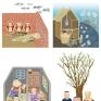 聯合文學雜誌:文章插圖創作本期主題為「但願返鄉」,在閱讀完四篇文章之後,以自己的見解和想像來繪製插圖。(左上:督鼻仔、右上:殺鬼、左下:今生緣、右下:笛鶴)